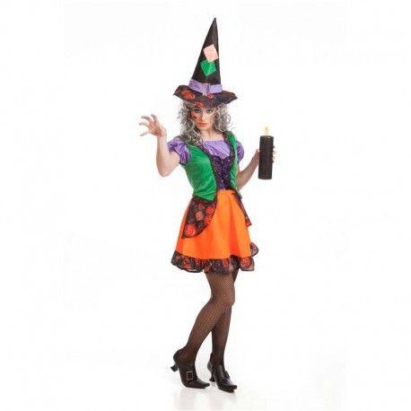 Disfraces Halloween mujer | Disfraz de bruja colorines. Compuesto de vestido adornado con sobrecorpiño y gorro de pico con hebilla. Talla M. 12,95€ #bruja  #disfrazbruja #disfraz #halloween #disfrazhalloween #disfraces