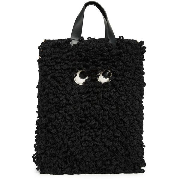Anya Hindmarch Shag Eyes Shopper ($800) ❤ liked on Polyvore featuring bags, handbags, tote bags, black, anya hindmarch, shopping bag, shopper tote, shopper tote handbags and anya hindmarch handbags