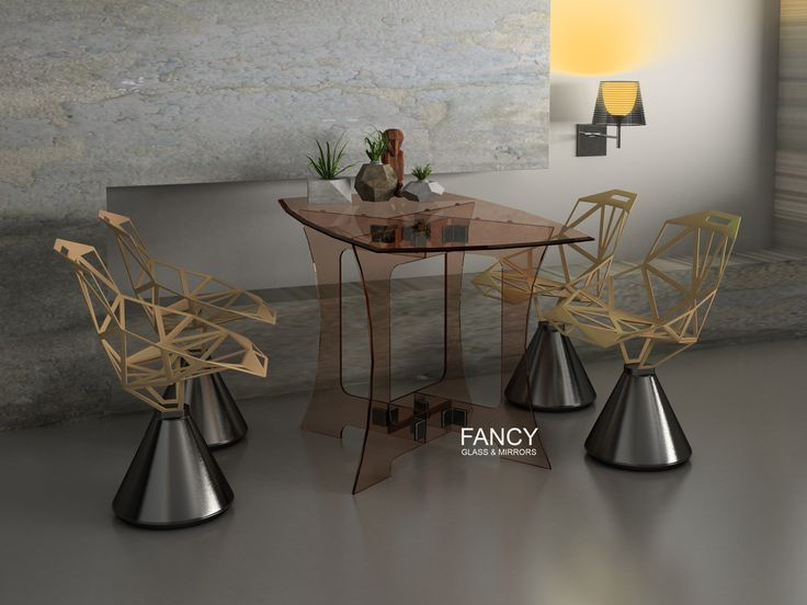 Our Capezio dining table will easily blend into variety interior designs. It has shaped thick tempered glass tabletop placed on top of shaped table base. The table top is decorated with beveled edge. And the base panels are firmly fixed together with best quality corner clamps. Their design allows for adjoining panels to meet with a minimal gap. This glass dining table is available in different sizes. It's a great looking piece of glass furniture along with safe and durable design.