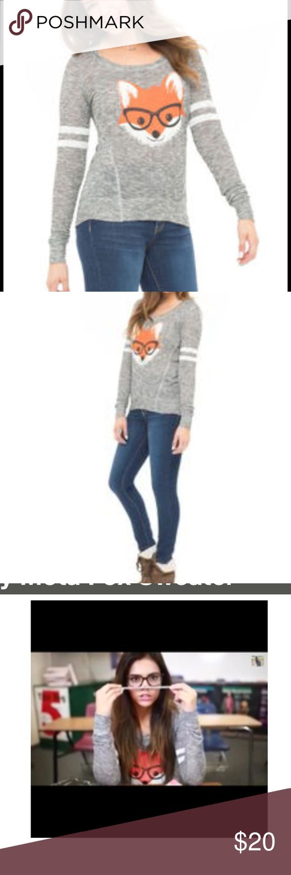 Bethany Mota fox top Smarty Fox Hi-Lo Sweater - Bethany Mota Collection. EUC size M Tops Tees - Long Sleeve