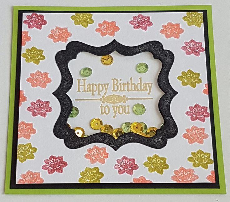 Basslady Creations, Happy Birthday, Roses, Shaker Card