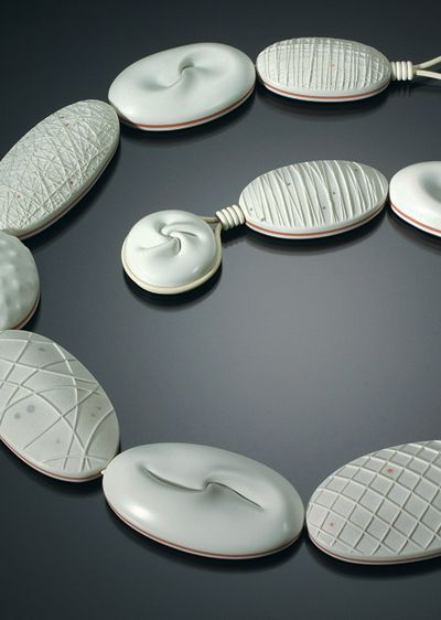 "DAN CORMIER-USA- white necklace.  oooohhhh....gorgeous  ""Trained in illustration and interior design, Cormier began working with polymer clay in the early 1990s. """