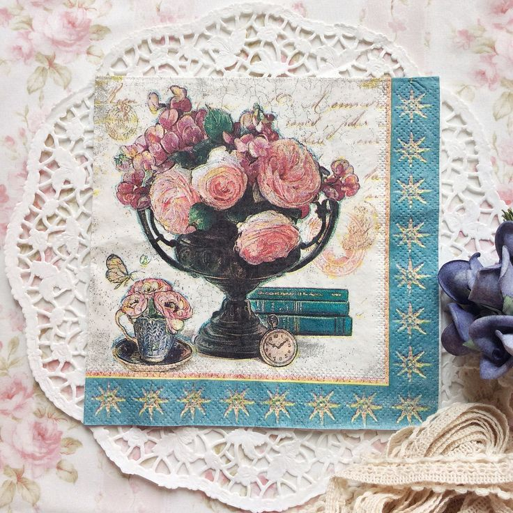 Napkin Papers Serviettens Decoupage Tissue  Cypress Rose Globe 33x33 cm (1/4 folded)  IDR 15.000/pc Send me your inquiry to yufihandcrafted@gmail.com   Shabby Chic Victorian Cottage Vintage Retro Rose Floral Flower Paper Napkins   And get a special discount on bulk order!