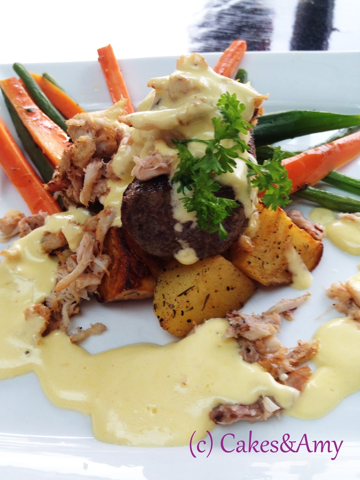 Filet with Crab and Bearnaise sauce. 2 Chefs' Affair. Nanaimo restaurants. Vancouver Island.