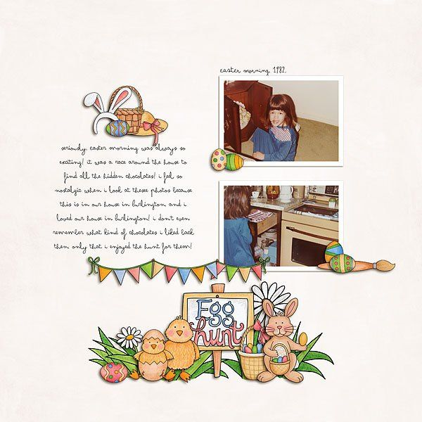 Easter egg hunt scrapbook layout ideas | digital scrapbooking page by Melanie