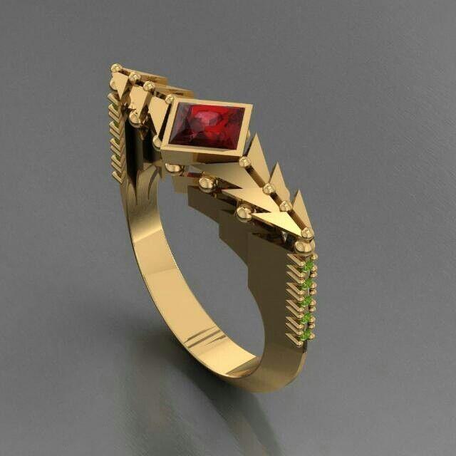 Modernised Art deco ring_Yellow gold_Garnet & Peridot
