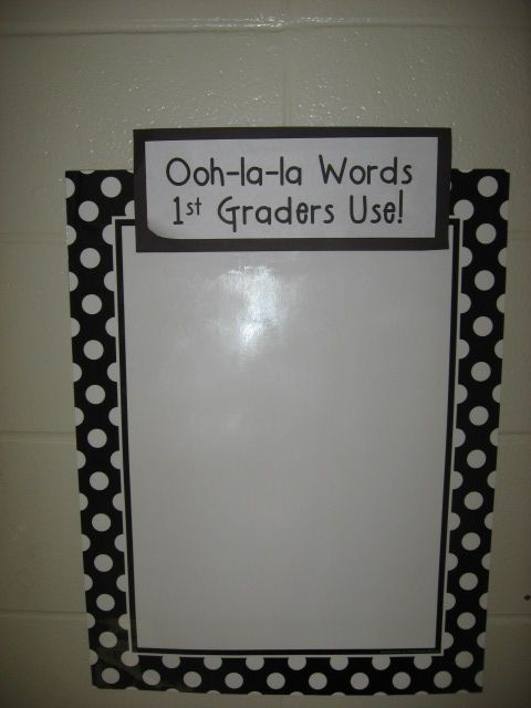 """We post current vocabulary words outside our door so the Reading Coach, Principal, and other adults can use them when they visit our room. The kids go nuts when they hear them use one of their words!"""