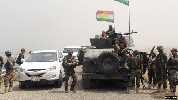 Kurdish forces near the Mosul dam, 19 August