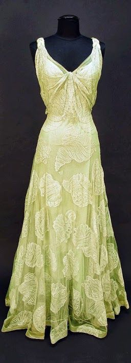 Worth Dress - c. 1932 - by House of Worth - Sleeveless pale seafoam green V-neck decorated with large shells of various types - Belonged to Elizabeth Arden - Whitaker Auction