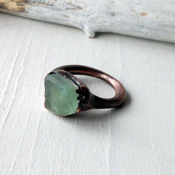 Copper Ring Fluorite Gem Stone Minty Celadon Green Raw Gem Organic Oxidized Handmade