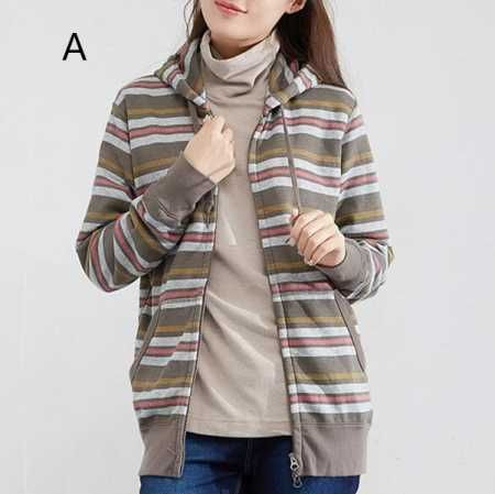Spring autumn striped zip up hoodie for women