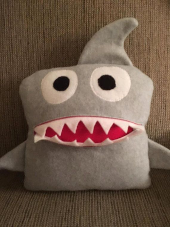 Worry Pillow Worry Eater Shark plush pillow shark by Just Four Kids, LLC Facebook page for the Chomper Buddies https://www.facebook.com/Just-Four-Kids-LLC-1236007589810752/
