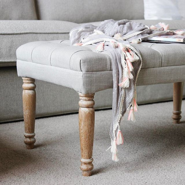 Juliet Benches are they perfect bench to be placed as a feature or off to the side for quick extra seating when entertaining & of course always handy for a 'walk in the door' dumping spot! #bench #seat #dressingroom #bedroom #plush #upholstered #furniture #taupe #buttons #oak #wooden #occasional #seating #homesweethome #interiordesign #lovemyblackmango