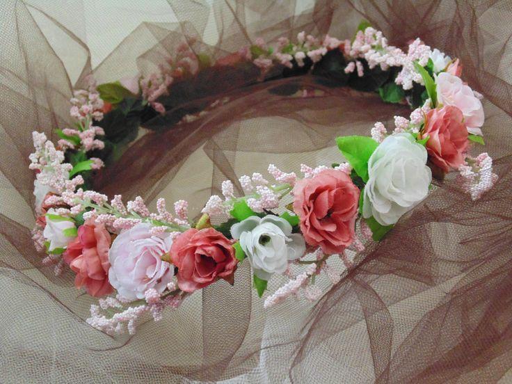 Rustic Wedding Roses Flower Crown, Bridesmaid Crown, Silk Roses Crown, Flower Girl Tiara, Renaissance Headdress by BunniesMadeOfBread on Etsy