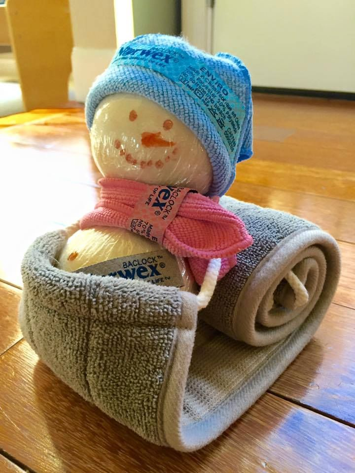 Need a Christmas or winter birthday  gift idea? Idea from Team Revolotion of Norwex. How cute is this as a gift?  1 Norwex back scrubber 2 Norwex wool dryer balls 2 Norwex travel size envirocloths She wrapped the dryer balls in Saran Wrap and used sharpie on wrap to make face and buttons. Held together using sewing pins.