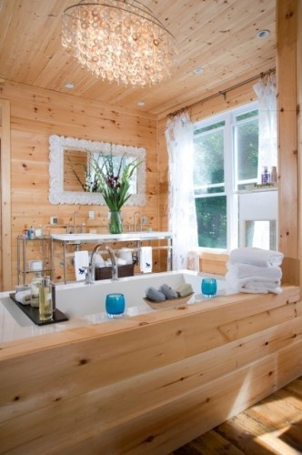Decorating around knotty pine (although this is a bathroom), love the chandelier for bedroom.