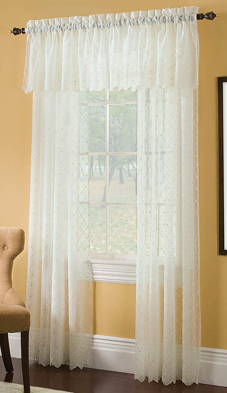 Vintage curtains lace white panels drapes window coverings floral - Find This Pin And More On Lace Curtains Mystic Crushed Voile Embroidered Curtain Panels