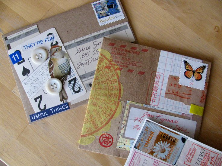 Marguerite's collage art card, French Paper Co. promo material, rubber stamps, paper scraps.