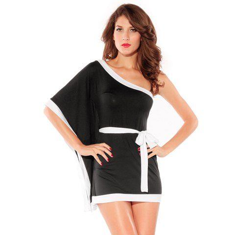 Alluring Batwing Sleeve One-Shoulder Women's Black Mini Dress, BLACK, ONE SIZE in Mini Dresses | DressLily.com