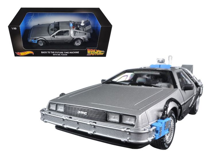 Hot wheels Back To The Future Time Machine Delorean with Mr. Fusion 1/18 Diecast Model Car by Hotwheels - Brand new 1:18 scale diecast car model of Back To The Future Time Machine Delorean with Mr. Fusion die cast car model by Hotwheels. Brand new box. Rubber tires. Has opening doors. Made of diecast metal. Detailed interior, exterior. Dimensions approximately L-10.5, W-4.5, H-3.5 inches.-Weight: 4. Height: 8. Width: 15. Box Weight: 4. Box Width: 15. Box Height: 8. Box Depth: 7