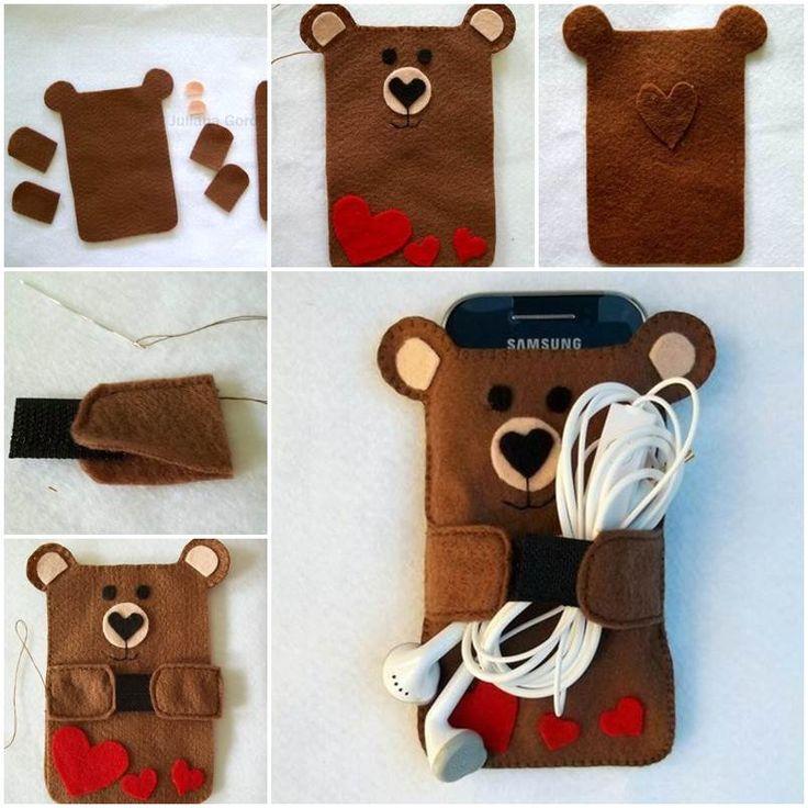 Creative ideas diy cute felt bear cell phone case for Diy phone case template