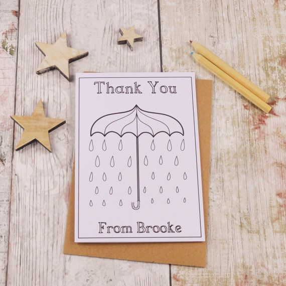 Umbrella Colouring in Thank You Card Children's by MakeWithMum