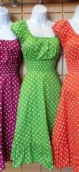 $44 Vintage Reproduction Polka Dot Pin Up Dress! SMALL MEDIUM LARGE yes:)