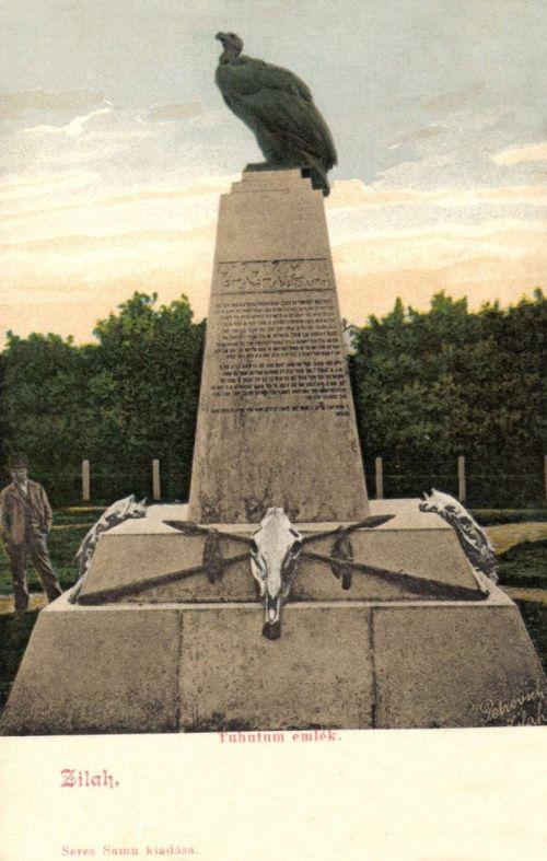 Zilah:Tuhutum turul emlékmű,székely rovásirással.1903