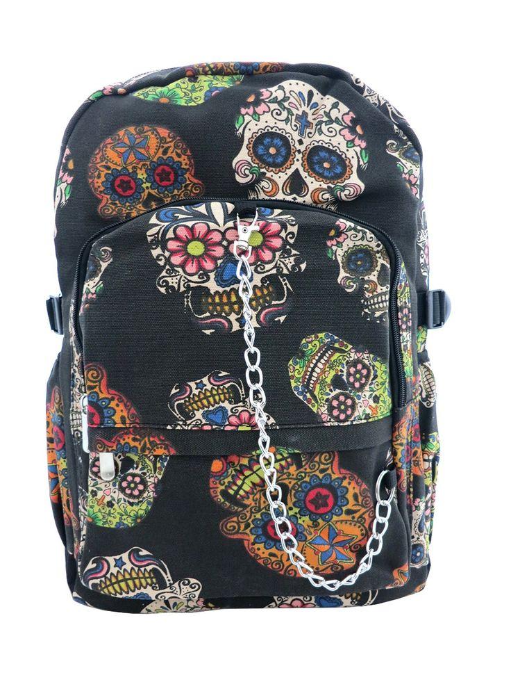 Messicano, motivo: Teschio, grande, colore: nero-Zaino in tela, con borchie, stile Goth Punk Rock, la scuola: Amazon.it: Valigeria