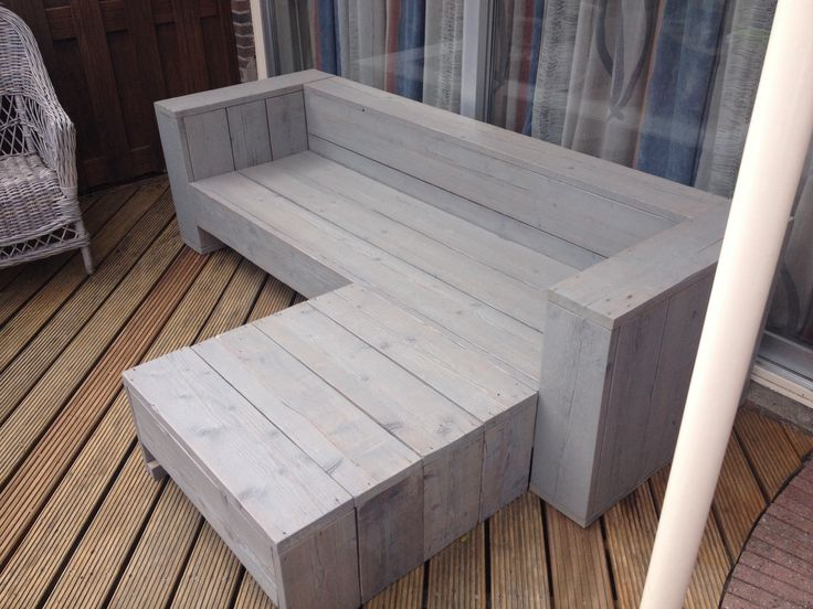 Bank steiger hout in grijze beits ( incl extra lounge bank)