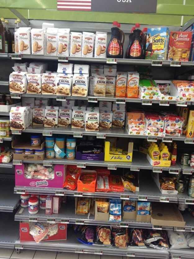 "Here's what the ""American Food"" section of a UK grocery store looks like:"