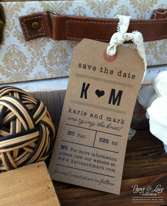 Luggage tag as the 'Save the Date'!
