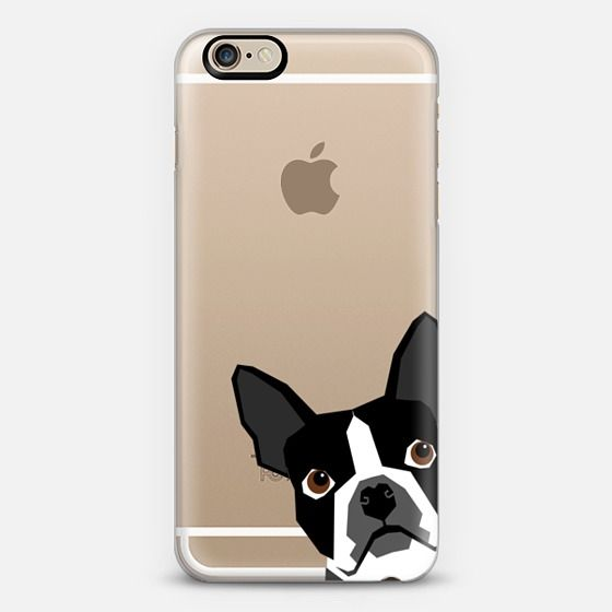 Peeking Boston Terrier cute transparent cell phone case for dog person owner of boston terrier puppy - Classic Snap Case