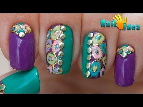 Модный Маникюр ШЕЛЛАК: Литье фольгой + Клепки. Дизайн ногтей пошагово