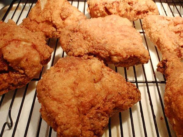 Southern Fried Chicken...... This was SoOoO good! I made it last night, and my family inhaled it. The changes I made: I eliminated the accent (never, ever use msg!) and added onion pwd. I used peanut oil for frying....To make 18 pcs I had to double the egg dip amount, and the flour portion was just enough... it is a bit of a time consuming process, but well worth the effort.
