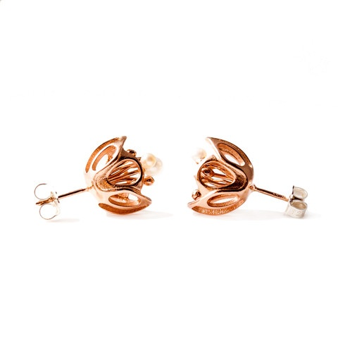 """""""Blossom"""" stud earrings. 18ct rose gold plated. fresh water pearls."""
