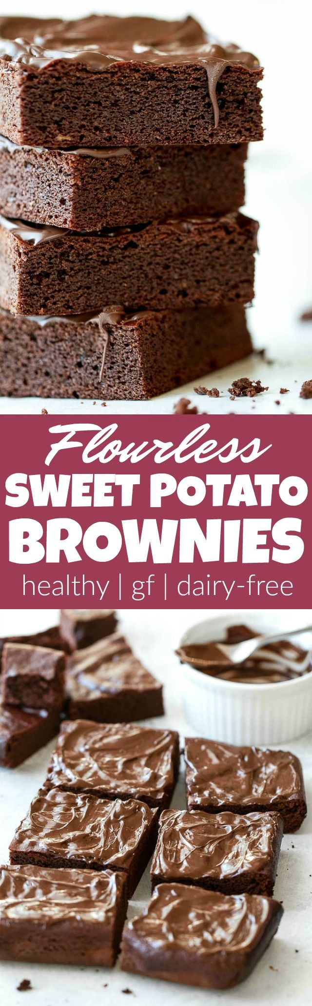 Flourless Sweet Potato Brownies made in the blender with only 7 ingredients! They're grain-free, oil-free, dairy-free, and refined-sugar-free, so they make a deliciously healthy gluten-free treat for when those chocolate cravings hit | runningwithspoons.com