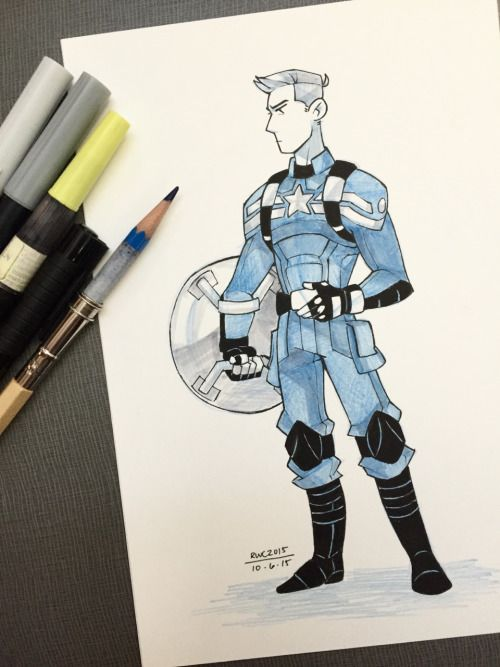 Inktober #6 – a somewhat hasty Captain in my favorite Cap suit :) <<< amazing!!!