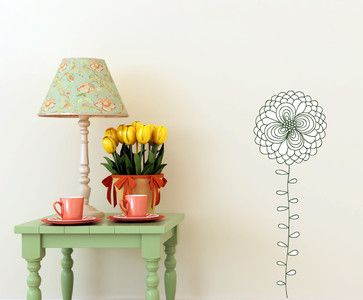 Floral Flower Vinyl Wall Decal - contemporary - Wall Decals - Vinyl Disorder Inc