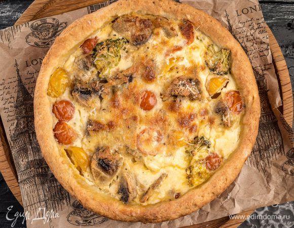 Пирог с творогом, брокколи и грибами
