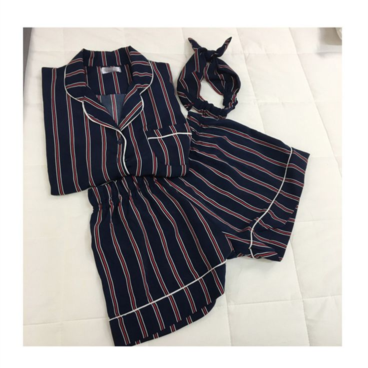 Plus Size 2 Colors 2016 Summer Short-sleeved Pajamas Female Striped Three-piece Shorts Suit Tracksuit Women Sleepwear Loose Hot