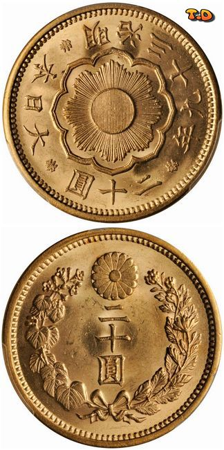 N♡T. Japan 20 Yen Gold coin 1906, Meiji 39