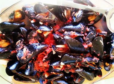 Provocolate: Hot Mussels in Red Sauce with Ouzo- a Messy, Sumptuous Summer Dinner Party.
