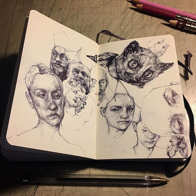 Doodling #pen #moleskine #moleskinesketchbook #sketch #sketchbook #gaia #doodling #doodle #bic #thinkspacegallery