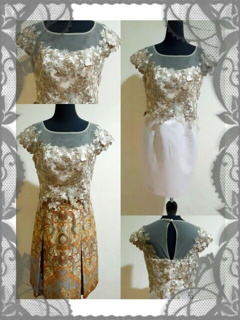 Two ways dress batik and 3d appliques brocade