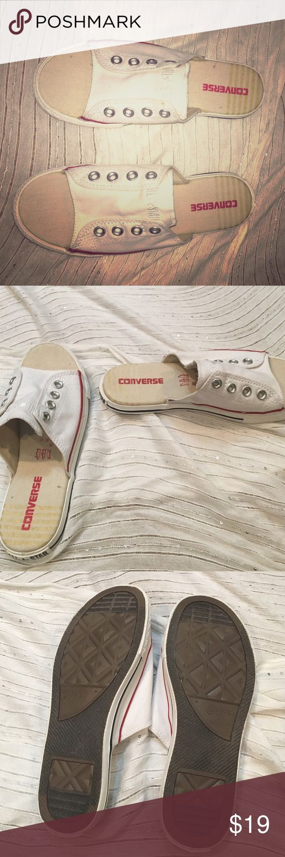 Converse slip on sneakers Comfortable and sporty slip on converse sneakers. Perfect for those spring and summer days. Worn once Converse Shoes Sneakers
