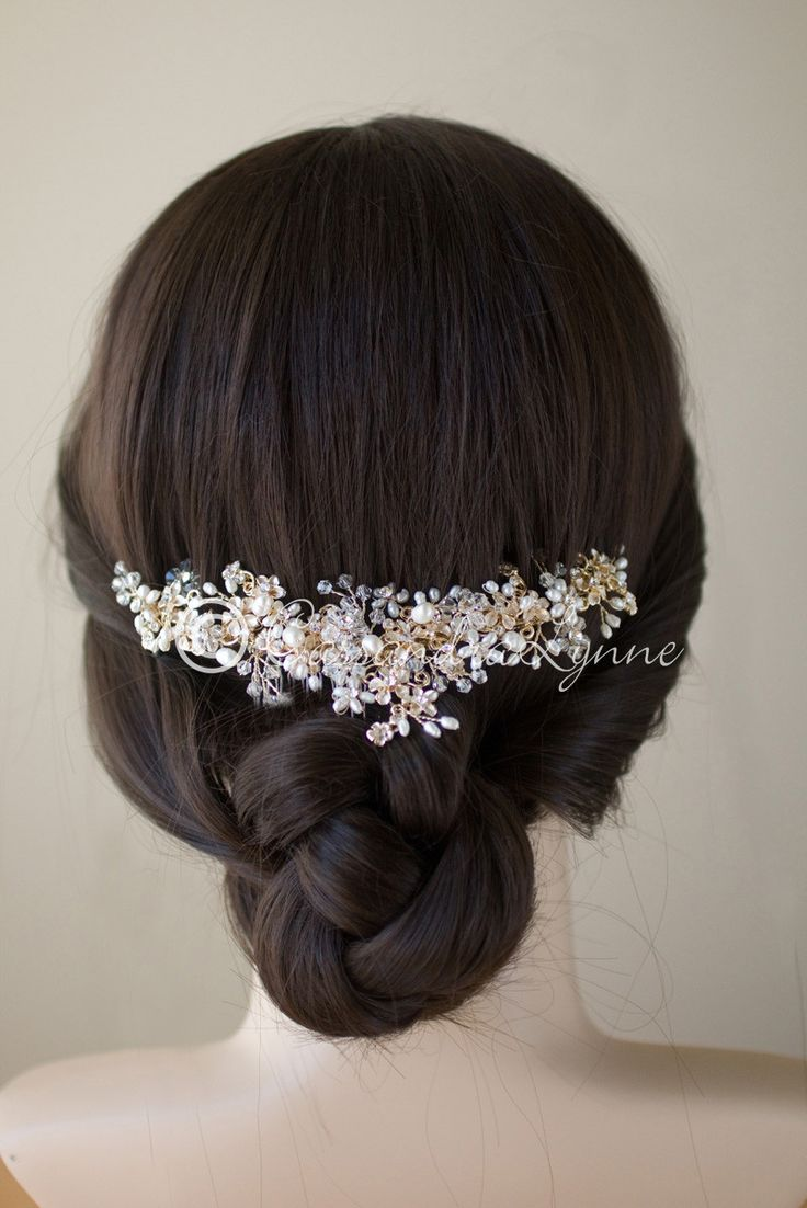Gold Pearl and Crystal Bridal Hair Comb