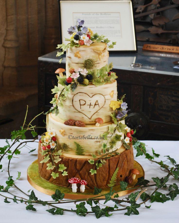 Midsummer Night's Dream/Enchanted Forrest Birch bark, tree log Wedding cake