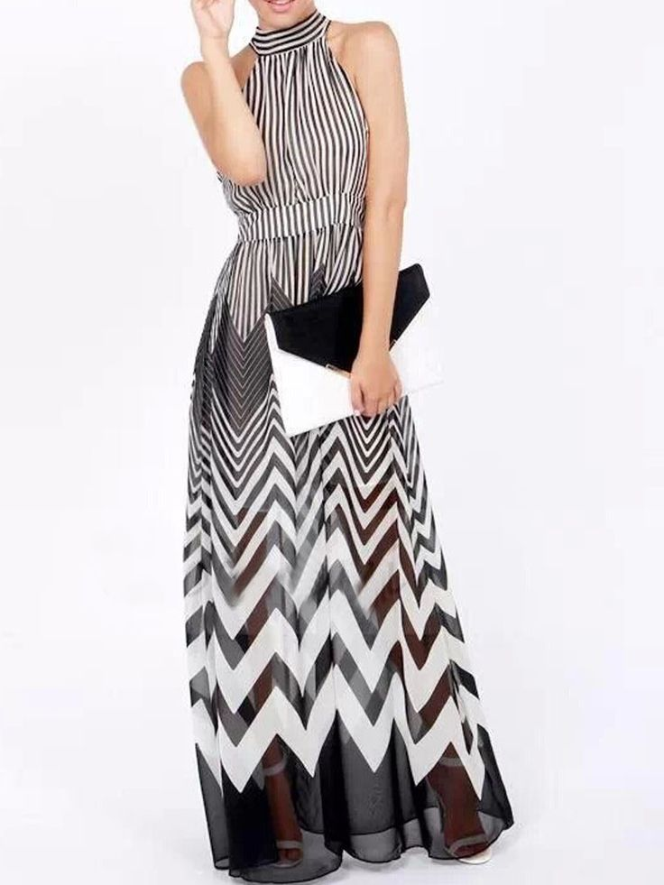Monochrome, Tie Back ,High Neck, Stripe Print,  Maxi Dress