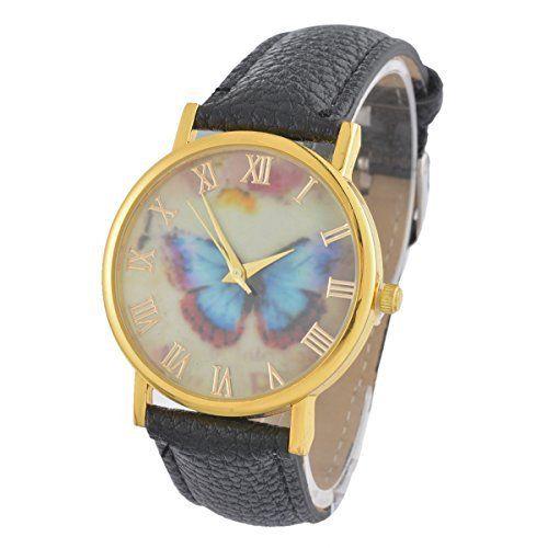 Souarts Damen Schwarz Schmetterling Armbanduhr Armreif Uhr mit Batterie Zifferblatt - http://uhr.haus/souarts/souarts-damen-schwarz-schmetterling-armbanduhr